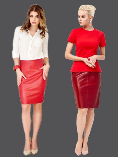 Сочетание красной кожаной юбки и блузки