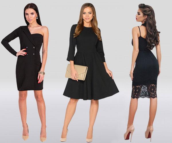 Маленькое черное платье с бежевыми туфлями