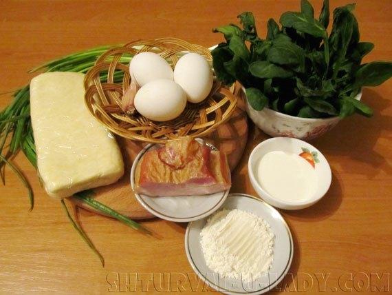 Ингредиенты для пирога со шпинатом