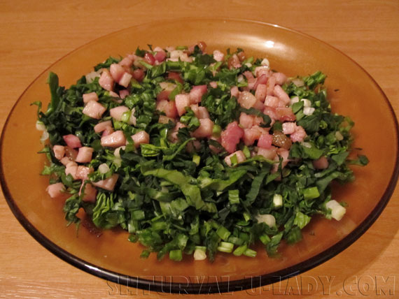 Начинка: шпинат, грудинка, зеленый лук