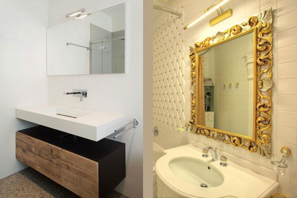 Прямоугольные зеркала в ванных