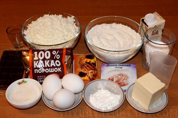 Ингредиенты для шоколадно-творожного чизкейка