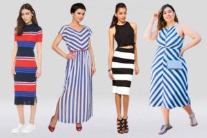 Примеры полосатых платьев для разных типов фигур