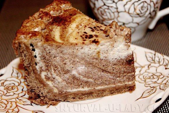 Творожно-шоколадный чизкейк разрез