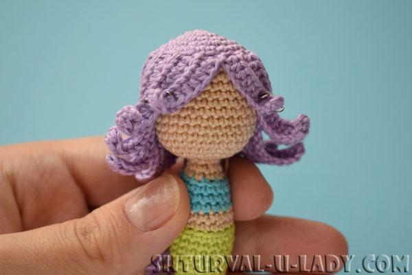 Пришивание волос кукле амигуруми русалке