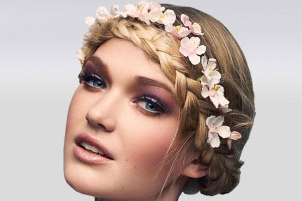 Прическа с косой-обручем, цветами