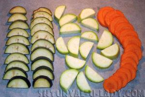 Нарезанные овощи для соте