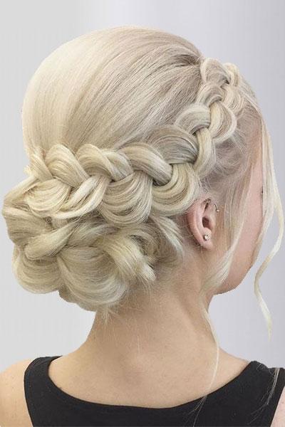 Французская коса-ободок, пучок