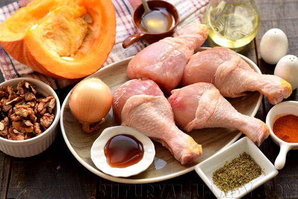 Набор продуктов для блюда курица с тыквой