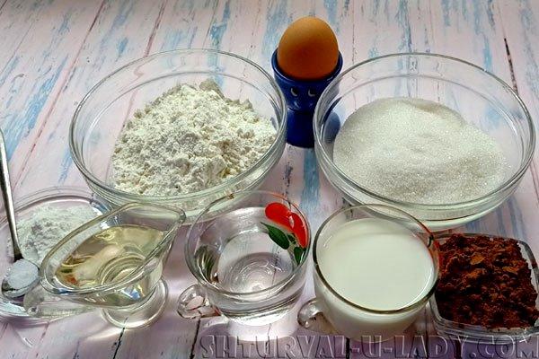 Набор продуктов для бисквита шоколадного