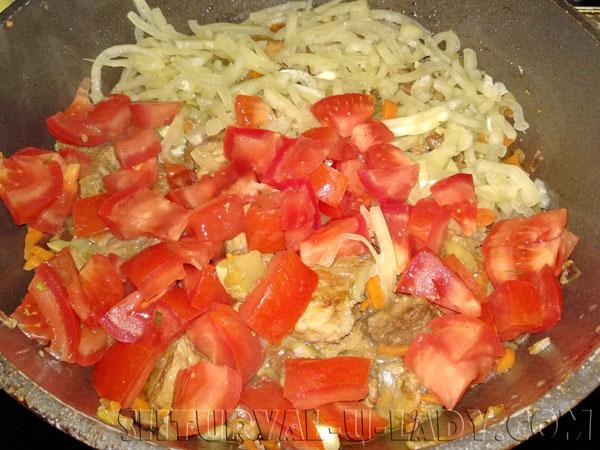 Мясо с овощами: обжарка