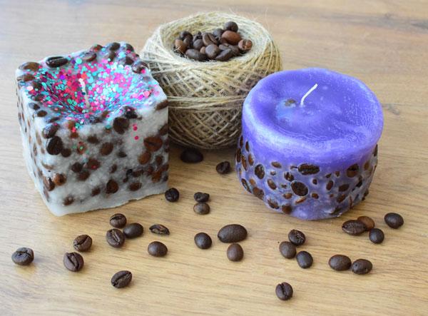 Красивые свечи с зернышками кофе