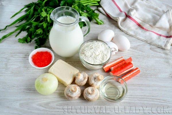 Ингредиенты для блинных закусок с начинкой