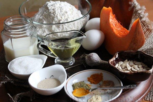 Набор продуктов для тыквенного хлеба