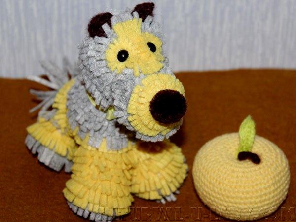 Цветная собака из фоамирана