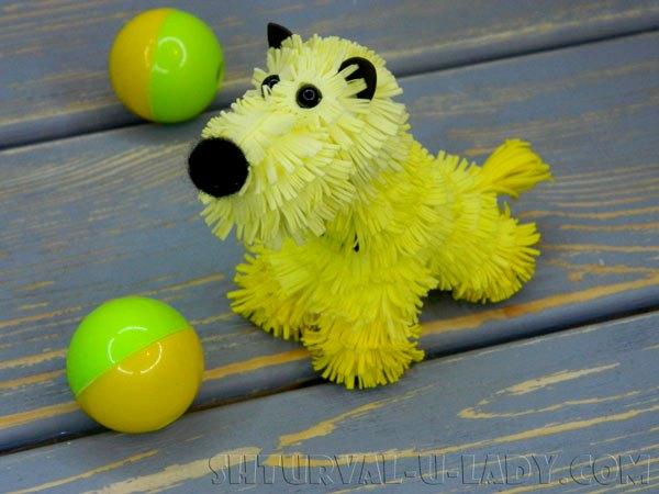 Собака из фоамирана, мячики