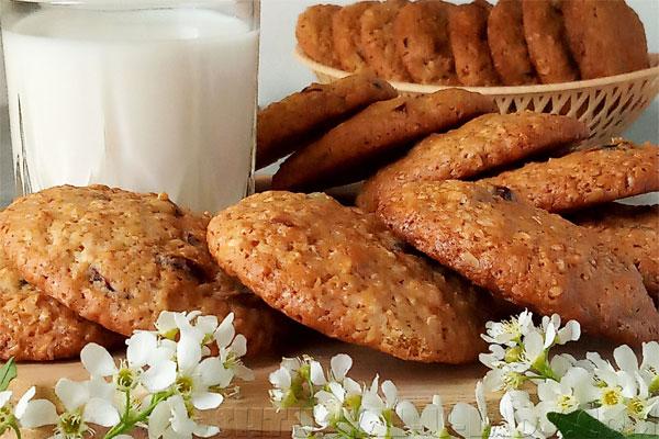 Румяное овсяное печенье со стаканом молока на полдник