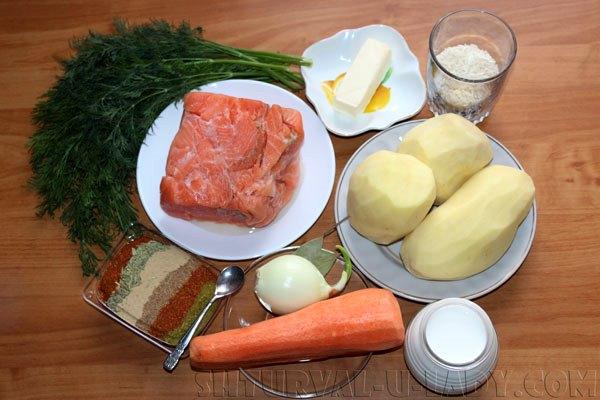 Ингредиенты для супа по-фински для приготовления