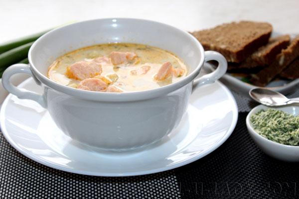 Нежный сливочный финский суп, лосось