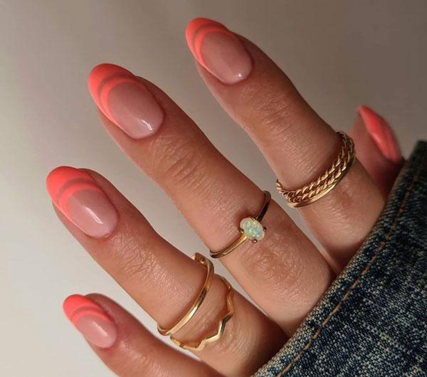 Дизайн ногтей Дабл френч: летний вариант