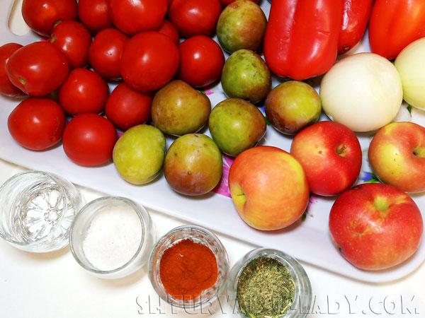 Набор продуктов для приготовления кетчупа